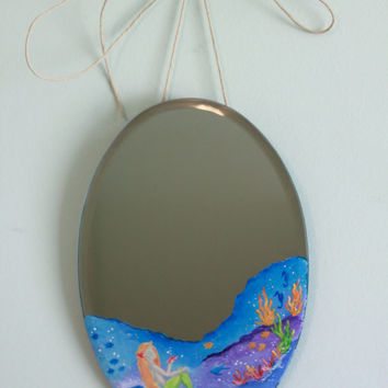 Mermaid Mirror: Hand Painted Under the Sea Ocean Scene