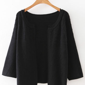 Black Collarless Wave Cardigan Knitwear