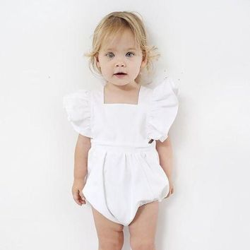 2017 Princess Girls Newborn Baby Romper Solid White Infant Bebes Toddler Kids Jumpsuit Outfits Ruffles Sunsuit Baby CLothes