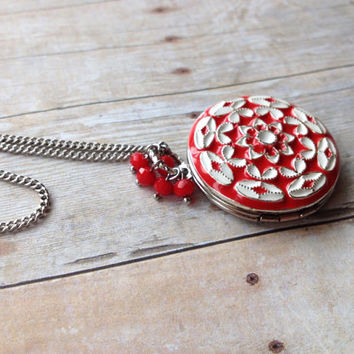 Red, White and Silver Locket