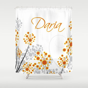 Orange & Grey Personalized Shower Curtain