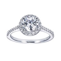 1 1/4ct tw Diamond Halo Engagement Ring in 14K White Gold - Ready To Wear - Engagement Rings