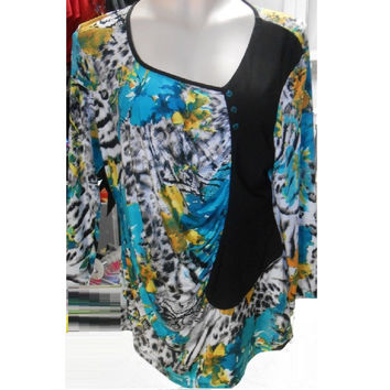 Bali Women's 3/4 Sleeve Top, Multi-color, X-Large