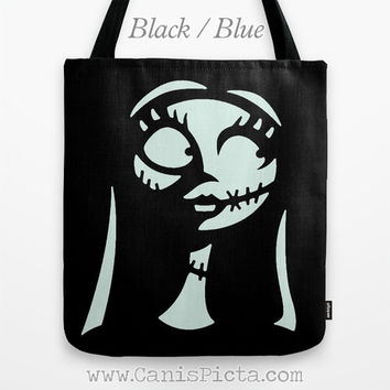 Sally Finklestein-Skellington Nightmare Before Christmas Graphic Print Tote Bag Movie Carryall for Her Halloween Black Blue Silhouette Girl