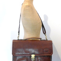 Vintage 1980s lockable brown leather brief case or messenger bag