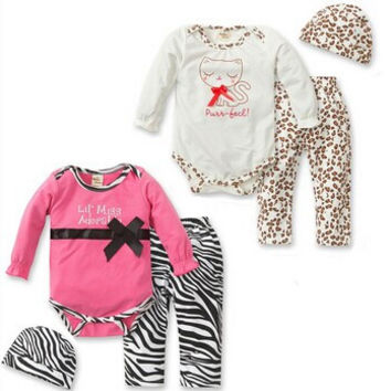New fashion 2016 autumn and spring baby girl clothes leopard rompers + pants + cap newborn infant 3 pcs suit baby clothing set