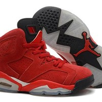 Hot Air Jordan 6 Suede Women Shoes Red Black From China