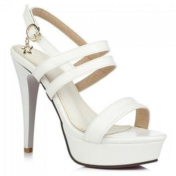Fashionable PU Leather and Stiletto Heel Design Sandals For Women - White 38