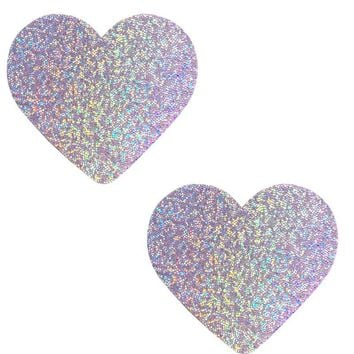 Heart Pasties in Lavender Hologram