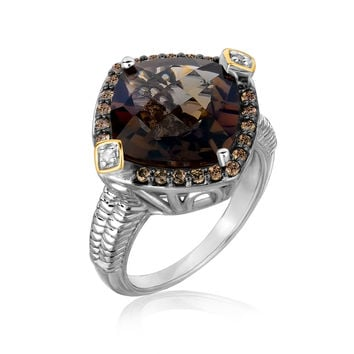 18K Yellow Gold and Sterling Silver Smokey Quartz Ring with Coffee Diamonds