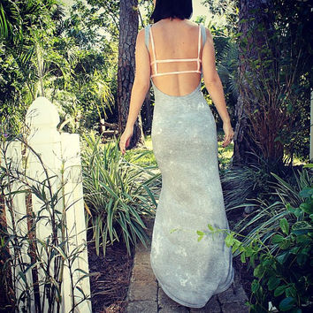 Backless High Low Maxi Dress   Heather by dvcollection on Etsy