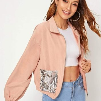 Zip Up Sequin Pocket Patched Jacket