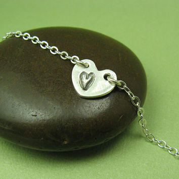 Heart in a Heart Silver Anklet