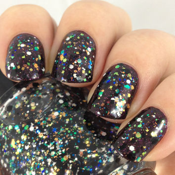Northern Lights-Iridescent, Black, and White Glitter Topper Indie Nail Polish by Noodles Nail Polish