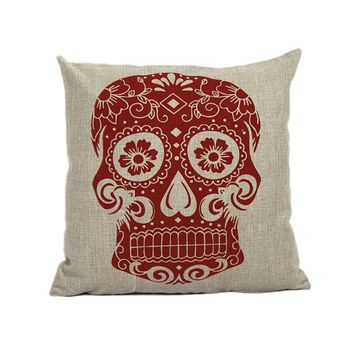 New Home Sofa Bed Cars Decoration Vintage Skull Pillowcover Skull Cushion