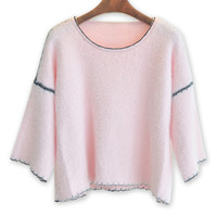 Pink 3/4 Flare Sleeve Fluffy Jumper