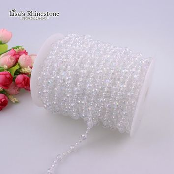 2017 Cotton Fishing Line Artificial Crystal Clear AB Round Ball Glass Loose Pearl Beads Chain DIY Garland Wedding Decoration