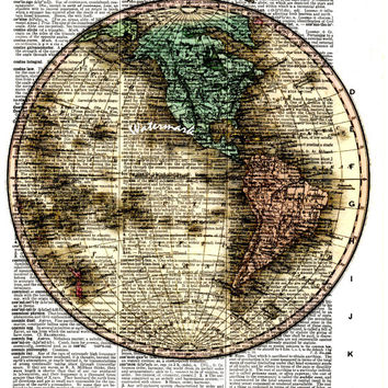 Western Hemisphere - 1824 - Historical Antique Map - Vintage Dictionary Decorative Art Print - Page Size 8.5x11