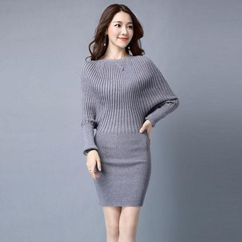 PEAPUNT 2016 new arrival autumn and winter warm female clothing bat-wing sleeve fashion long knitted sweater dress loose for women
