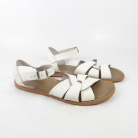 Saltwater Sandals White Vintage 1990s Salt water Leather Women's size 8