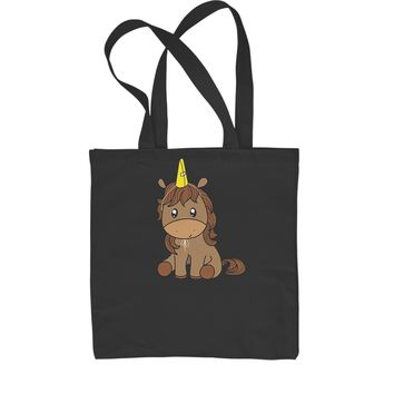 Unicorn in Cone Hat Shopping Tote Bag