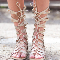 Wrapped Around You Gold Gladiator Sandals