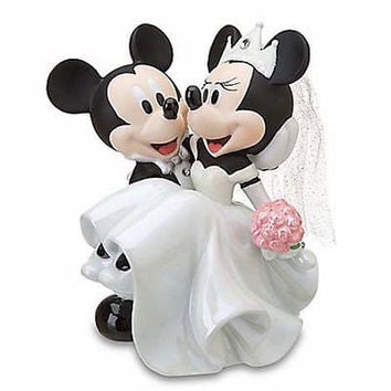 disney parks mickey & minnie wedding porcelain figure cake topper new