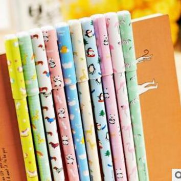 Kawaii Colorful Animal Print Gel Ink Pen Promotional Gift Stationery Office School Supplies FOD