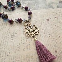 Lotus Tassel  Necklace with Crystals