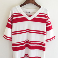 White V-Neck Short Sleeve Shirt with Red Stripes