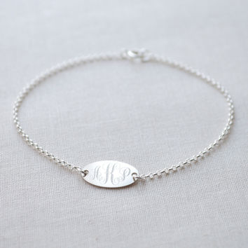 Oval Engraved Monogram Bracelet