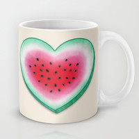 Summer Love - Watermelon Heart Mug by Perrin Le Feuvre