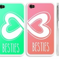 """Set of 2 Mint Blue Green and Coral Best Friends iphone 4 Case- """"Besties"""" iPhone 4s Case with Infinity Heart Logo:Amazon:Cell Phones & Accessories"""