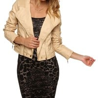 Sale-natural Asymmetrical Moto Jacket