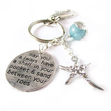 Starfish Keychain, Starfish Quote Keychain, Shell in Your Pocket Keychain, Sand Between Your Toes Keychain, Wave Bead Keyring, Car Accessory
