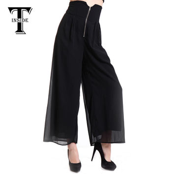 T-INSIDE New Arrived Brand Casual Loose Women's Wide Leg Pants Black Long Pants Palazzo Loose Trousers S/M/L Plus Size DSB-500