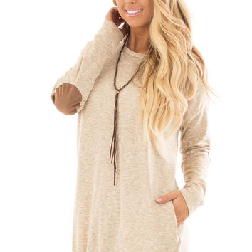 Oatmeal Loose Fit Tunic Top with Faux Suede Elbow Patches