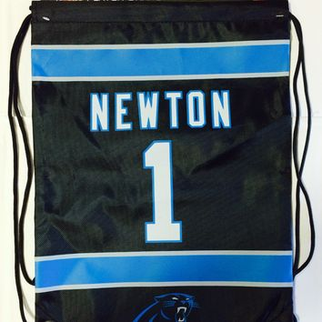 Cam Newton #1 Carolina Panthers Jersey Back Pack/Sack Drawstring gym Bag Black