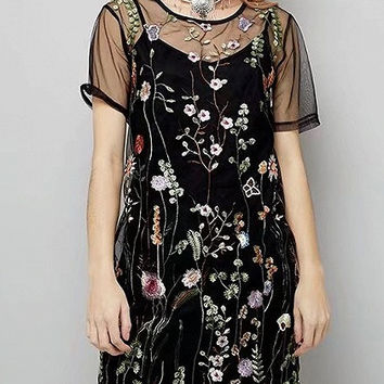 Black Floral Embroidery Short Sleeve Cami Lining Mesh Mini Dress