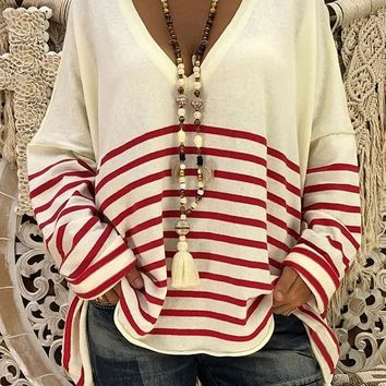 New White-Red Striped Deep V-neck Cute Pullover Sweater
