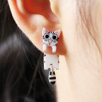Cat Ear Jacket Earrings with Sterling Silver Studs by fashnin.com