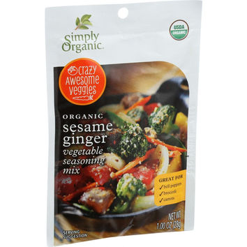 Simply Organic Vegetable Seasoning Mix - Organic - Sesame Ginger - 1 oz - Case of 12