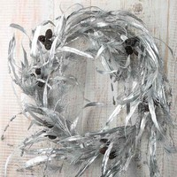 Sparkling Silver Artificial Pine and Leaf Ornament Wreath - Wreaths - Floral Supplies - Craft Supplies