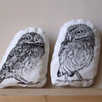 decorative owls room decor black and white set of 2 woodland cushions hand drawn on cotton fabric