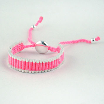 Adjustable Friendship Silver Links Bracelet - Pink