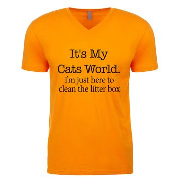 It's My Cats World I'm Just Here To Clean The Litter Box Men's V Neck