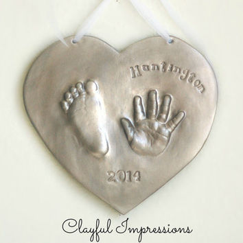 Kids and Baby's hand and footprint Ceramic Keepsake of your child,  Gift idea for Mom and Dad