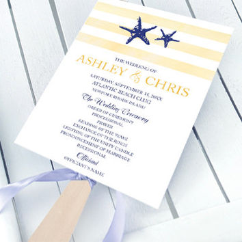 Printable Beach Wedding Program Fan - Printable DIY Templates with a Starfish Theme - Easily customize is MS Word or Pages - Yellow and Blue