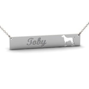 Sterling Silver GERMAN SHORTHAIRED POINTER Dog Name Bar Necklace