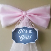 Pink Baby Shower Bow, Hospital Door Decoration,Its a Girl, Baby Shower Bow, Birth Announcement, Baby Shower Decoration,